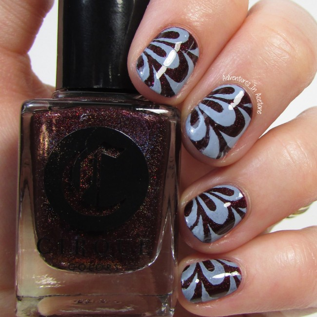 Cirque Colors Oporto and Storm King watermarble vinyl nail art 1