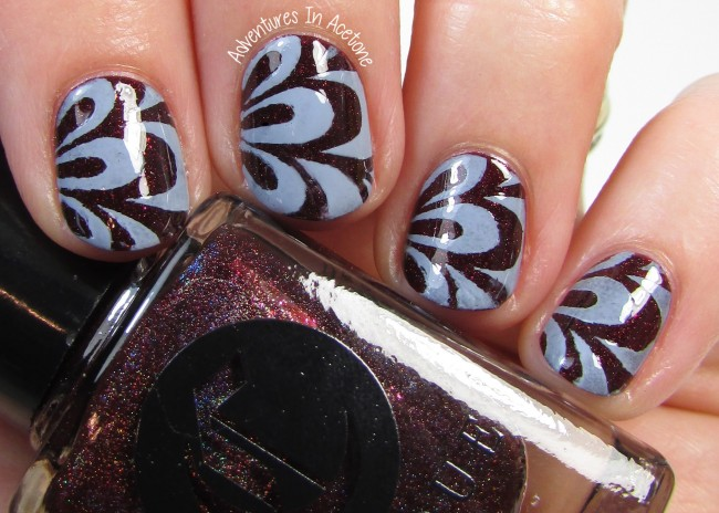 Cirque Colors Oporto and Storm King watermarble vinyl nail art 2