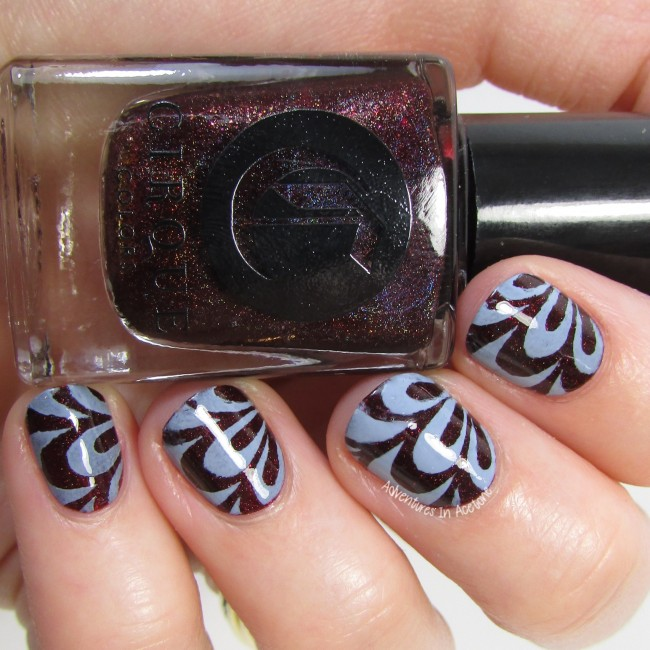 Cirque Colors Oporto and Storm King watermarble vinyl nail art 3