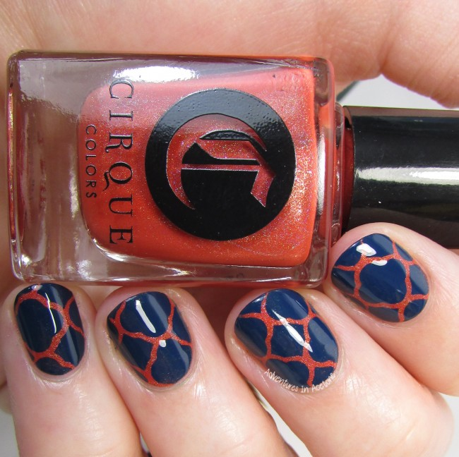 Cirque Colors Tangerine Dream and Selvedge Quatrefoil vinyl nail art 3