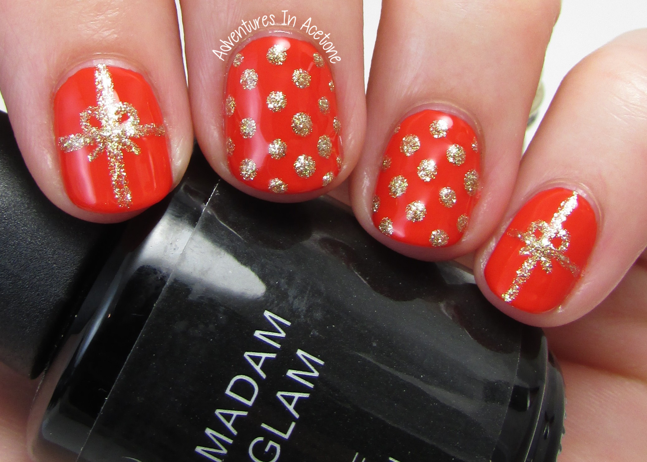 Easy Holiday Nail Art With Madam Glam Gel Polish Adventures In Acetone