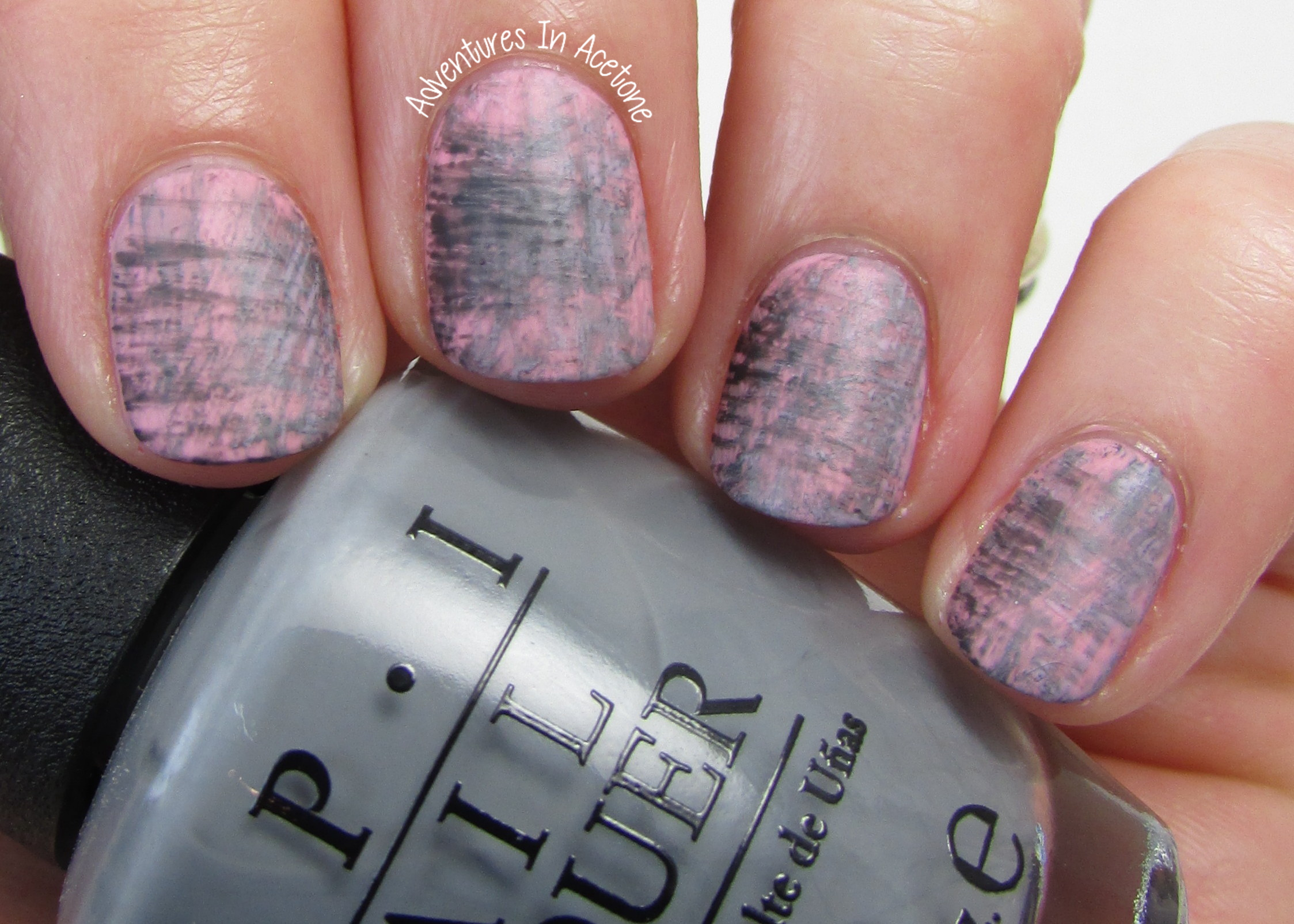 40 great nail art ideas grey color pink and grey fanbrush nail pink and gray fan brush nail art 1 prinsesfo Image collections
