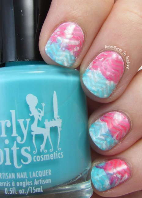 Pink and Turquoise Chevron Nail Art 1