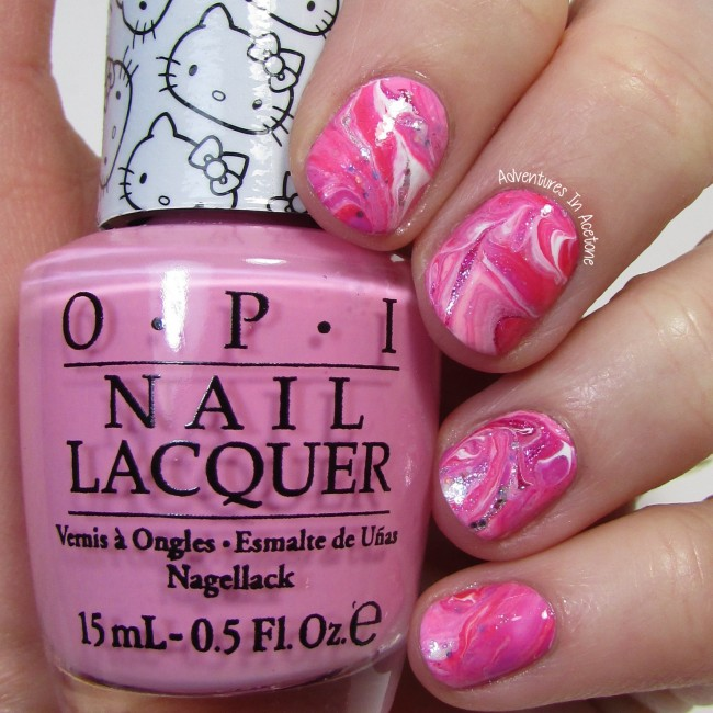 Dry Marble Nail Art with OPI Hello Kitty 1