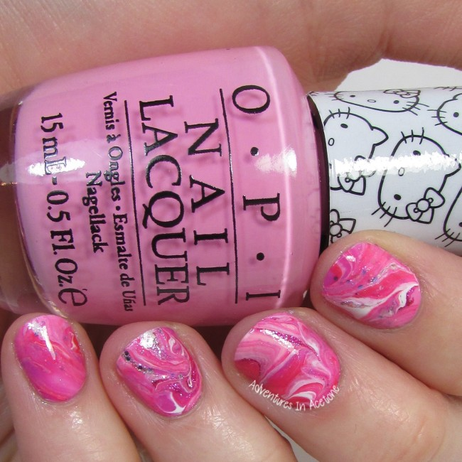 Dry Marble Nail Art with OPI Hello Kitty 2