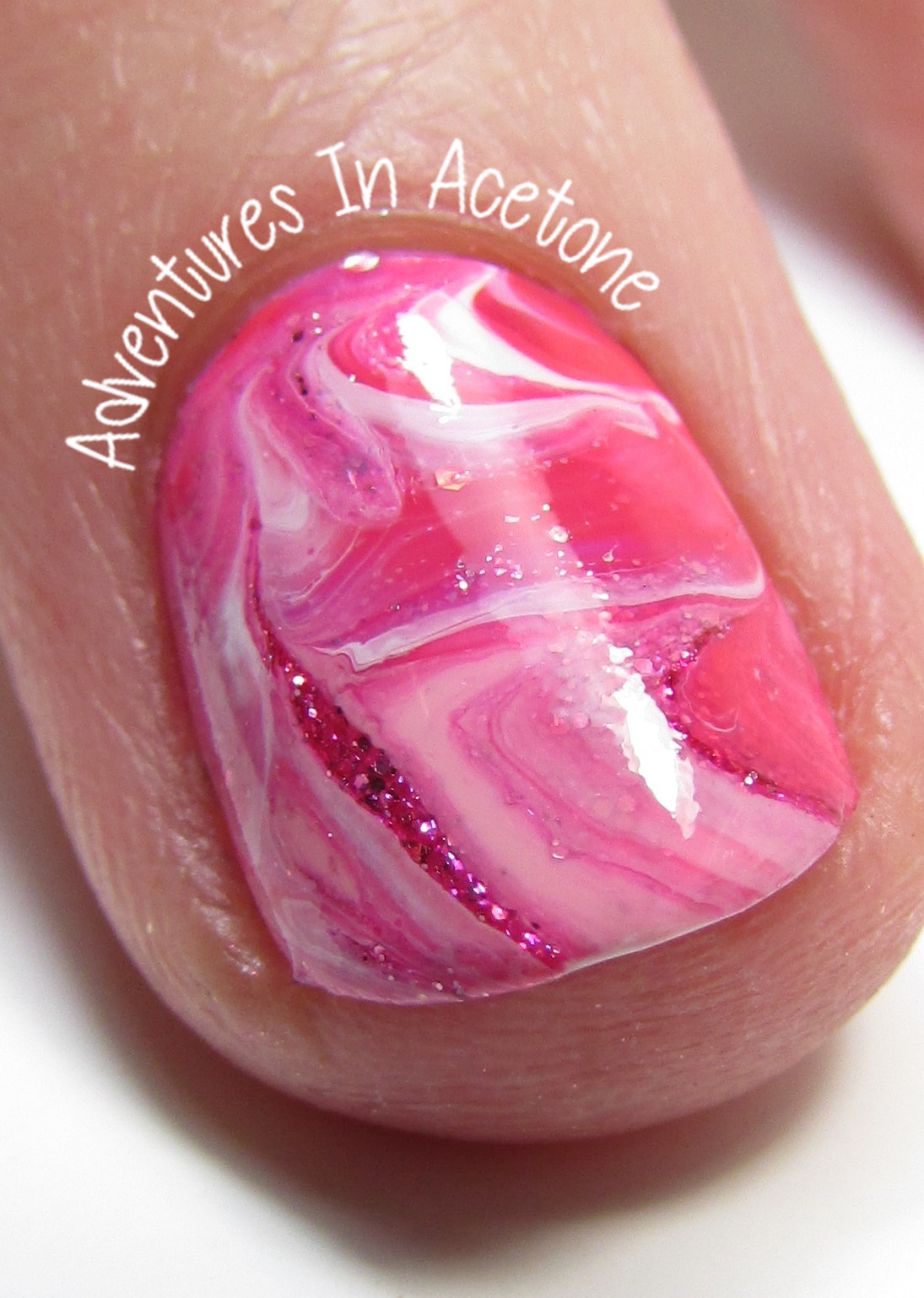 Dry Marble Nail Art With OPI Hello Kitty 3