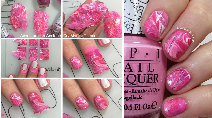 Dry Marble Nail Art with OPI Hello Kitty Tutorial