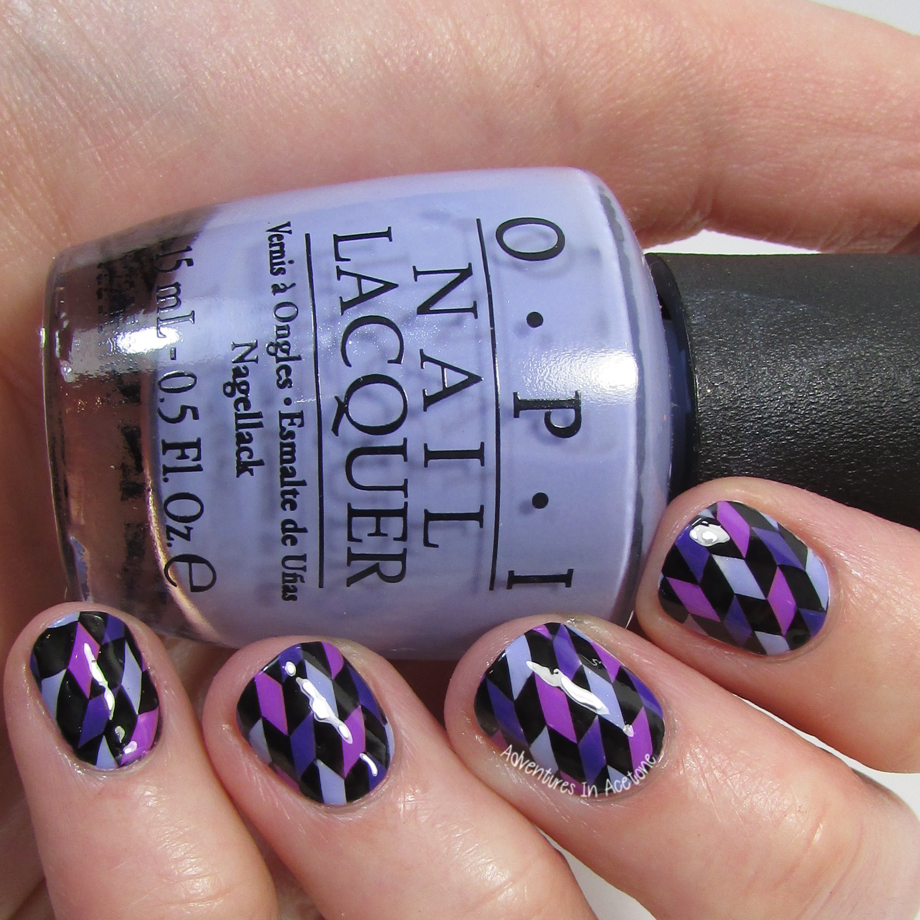 40 Great Nail Art Ideas, 3 Shades of Purple: Geometric Rhomboids ...