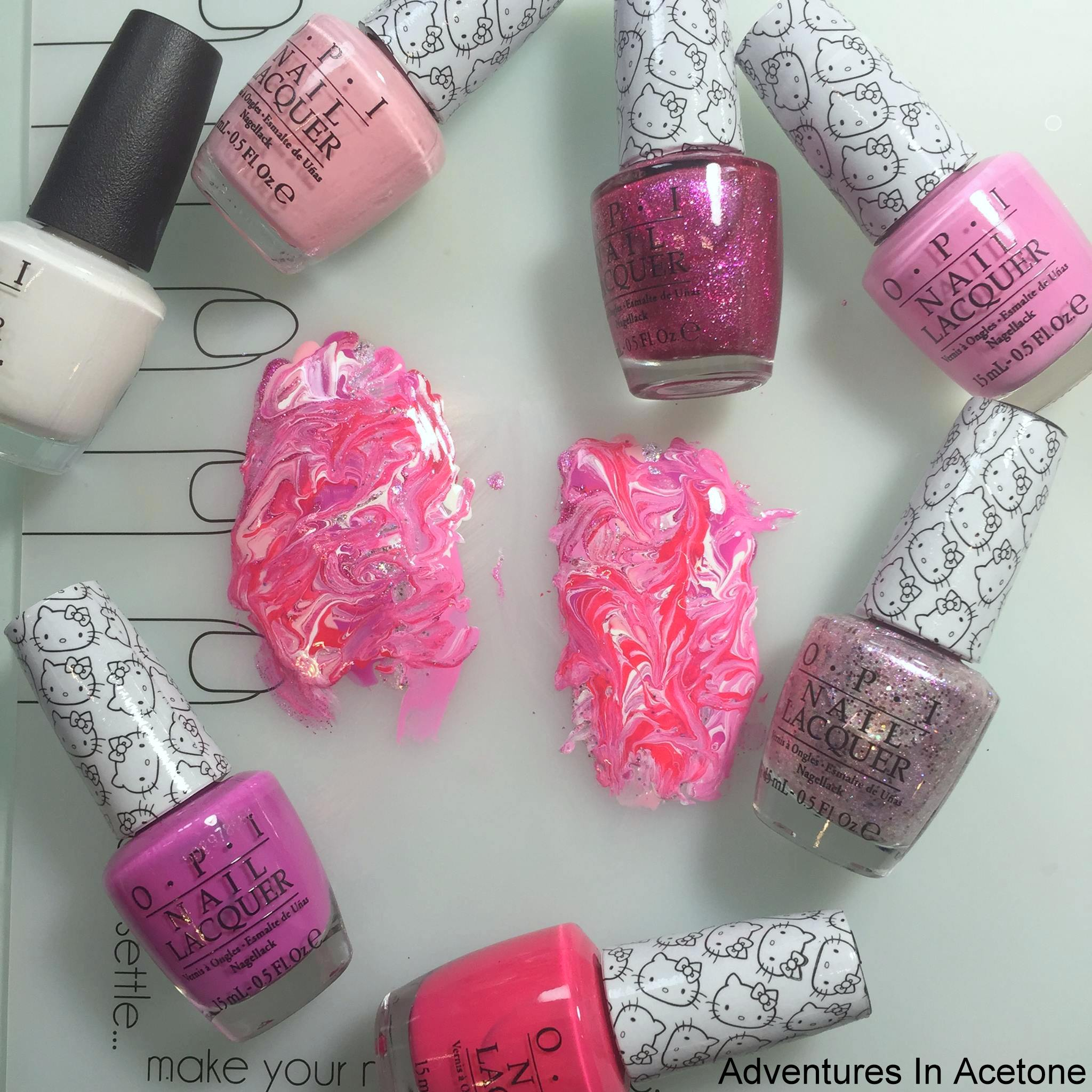Tutorial Tuesday Opi Hello Kitty Collection Dry Marble Nail Art