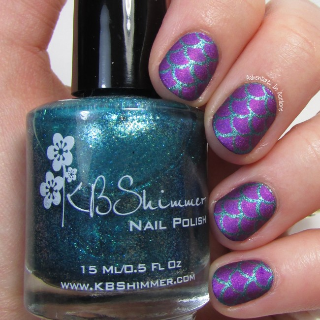 Purple Mermaid Scale Nail Art 1