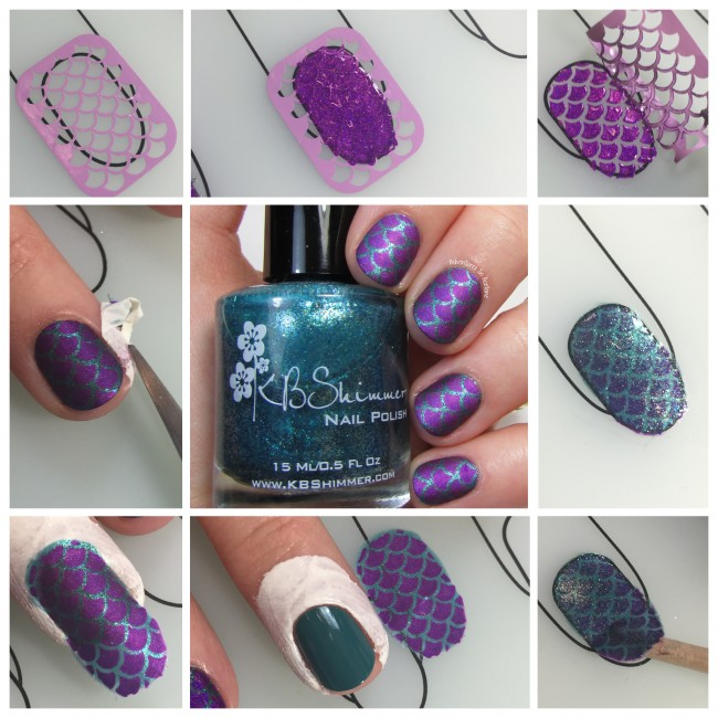 Purple Mermaid Scale Nail Art tutorial