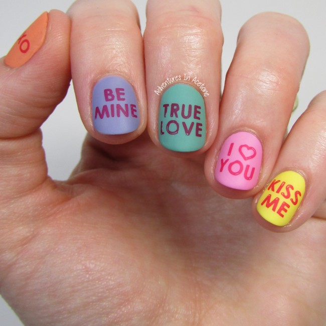 Valentine S Day Nail Art Conversation Hearts