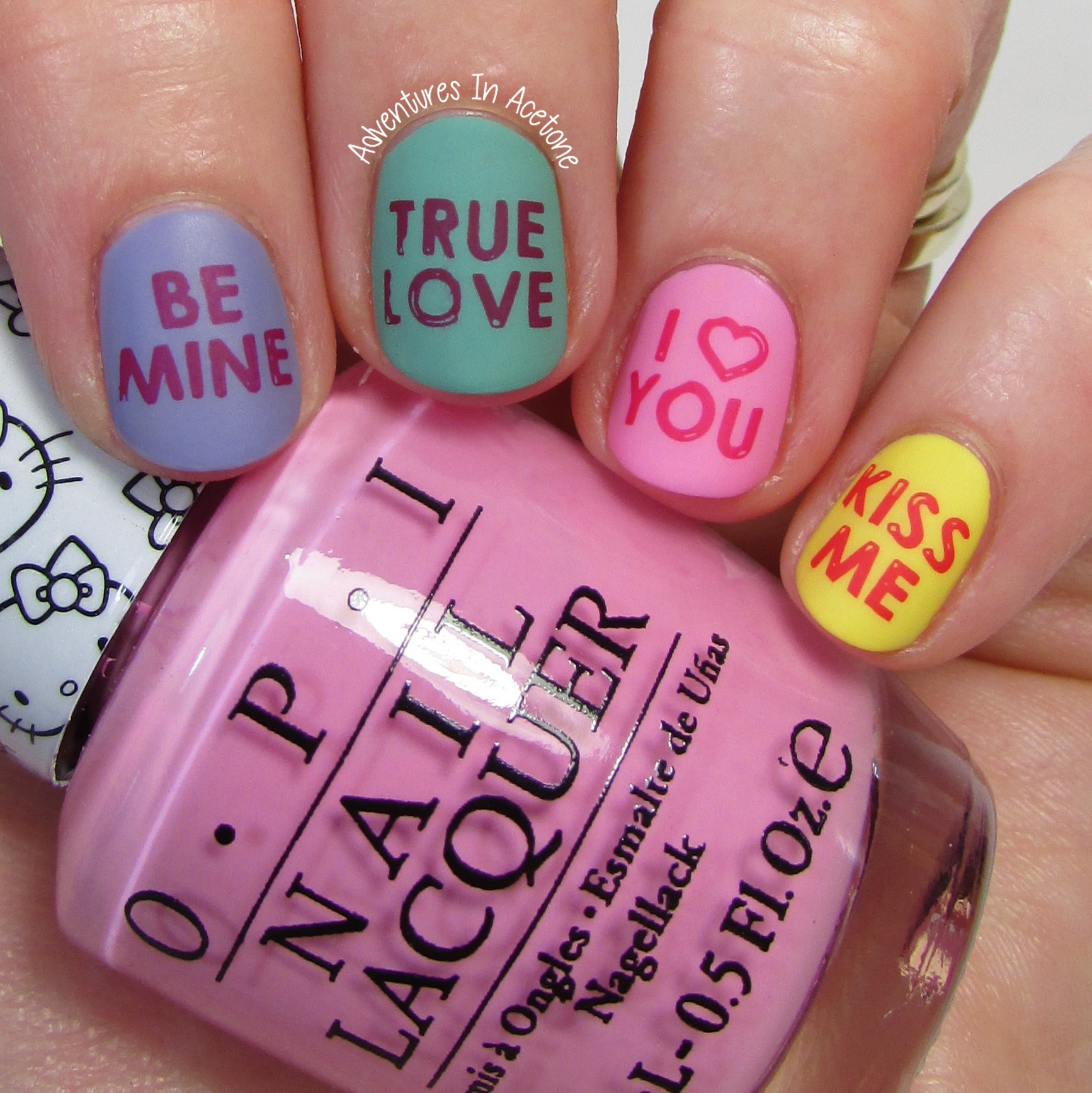 Valentine\'s Day Nail Art: Conversation Hearts! - Adventures In Acetone