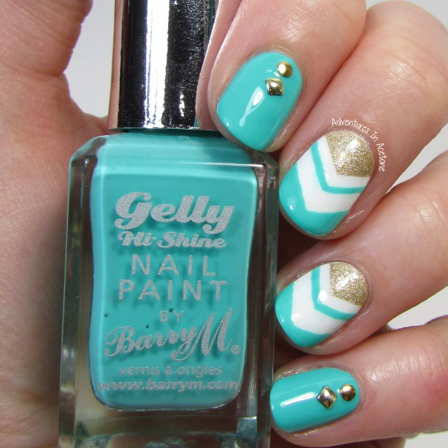 turquoise and gold chevrons and studs nail art 2