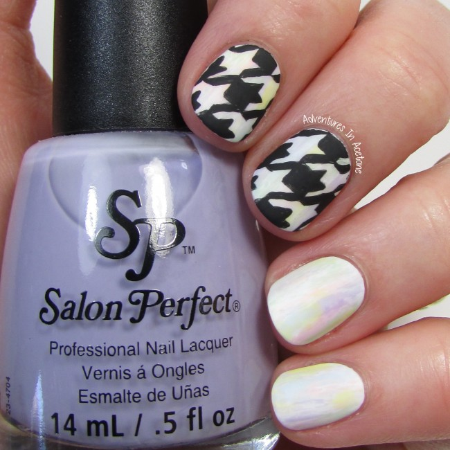 Freehand Houndstooth Pastel Nail Art 1