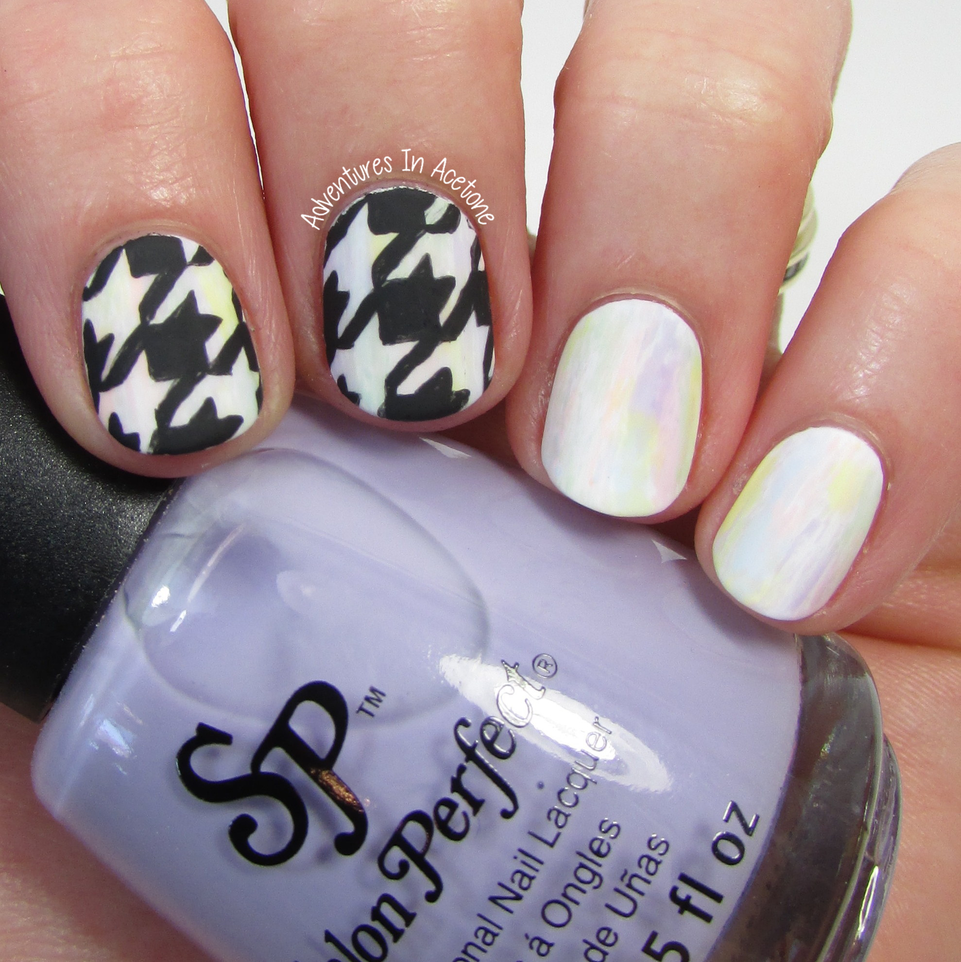 40 Great Nail Art Ideas Pastels Freehand Houndstooth Nail Art