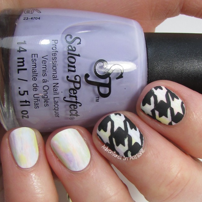 Freehand Houndstooth Pastel Nail Art 3-001