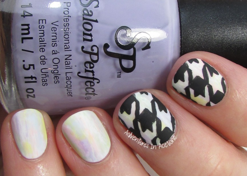 40 Great Nail Art Ideas, Pastels: Freehand Houndstooth Nail Art ...