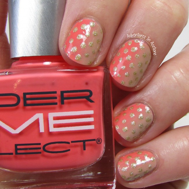 Coral Gradient with Polka Dots nail art 1