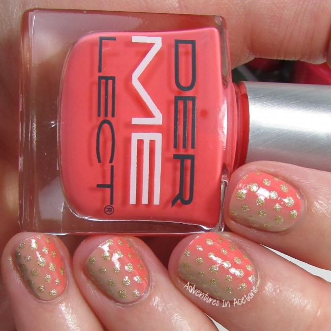Coral Gradient with Polka Dots nail art 2