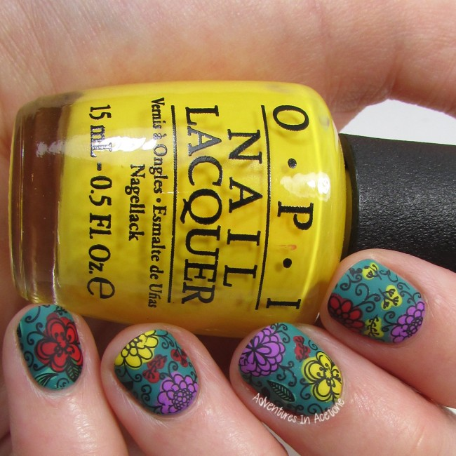 LuLaRoe Floral Leggings Inspired Nail Art 3