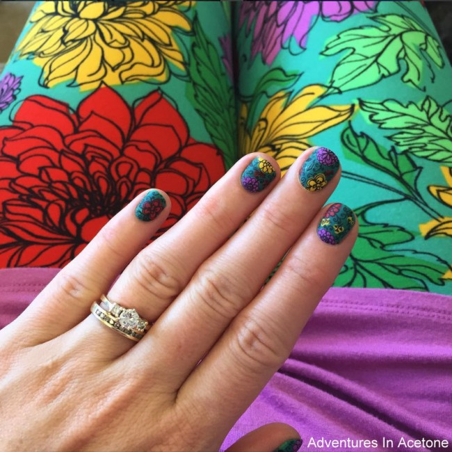 LuLaRoe Floral Leggings Inspired Nail Art 4