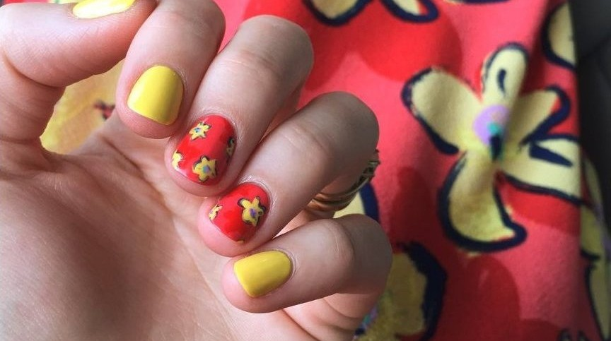 LuLaRoe Floral Nicole Dress Inspired Nail Art 3