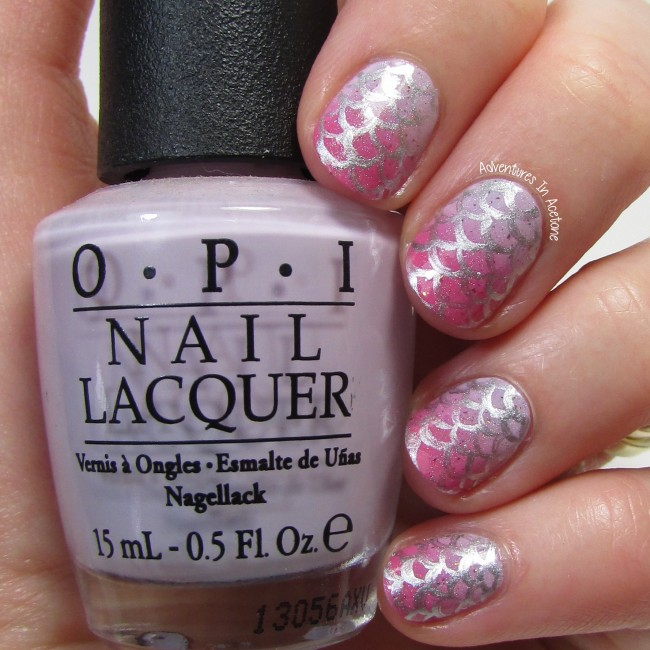 Pink and Lilac Gradient Mermaid Scale Nail Art 1