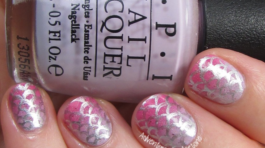 Pink and Lilac Gradient Mermaid Scale Nail Art 2