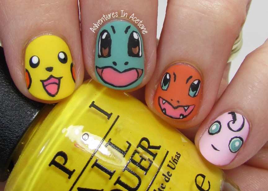 40 Great Nail Art Ideas, Kid's TV: Pokémon Nail Art! - 40 Great Nail Art Ideas, Kid's TV: Pokémon Nail Art! - Adventures In