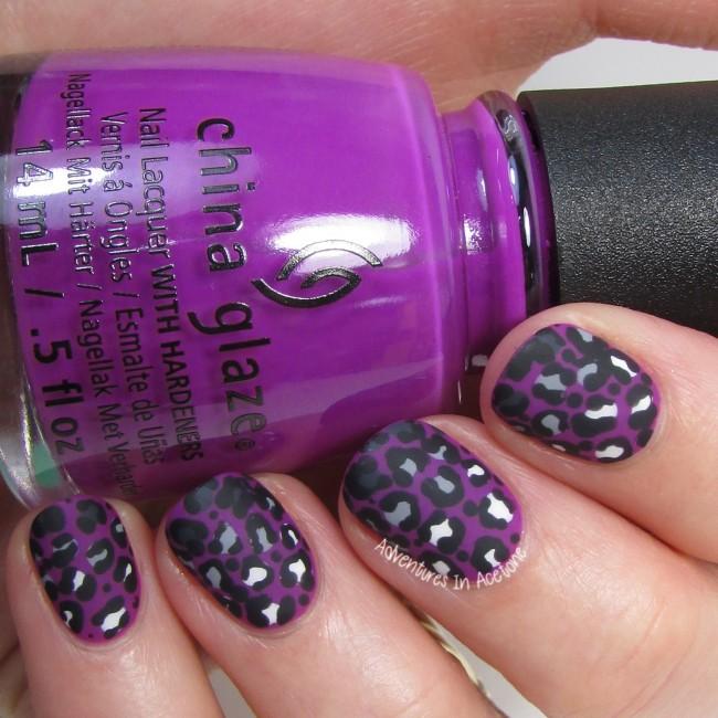 Violet Leopard Gradient Nail Art 1-001