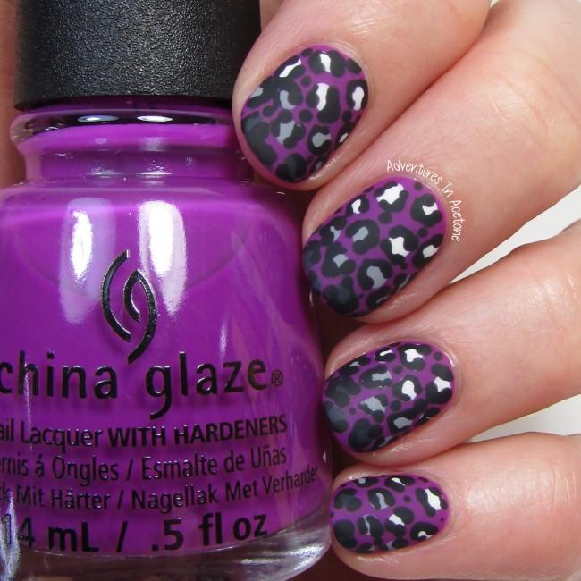 Violet Leopard Gradient Nail Art 2