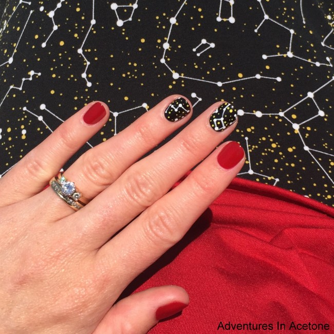 LuLaRoe Constellation Maxi inspired nail art 4