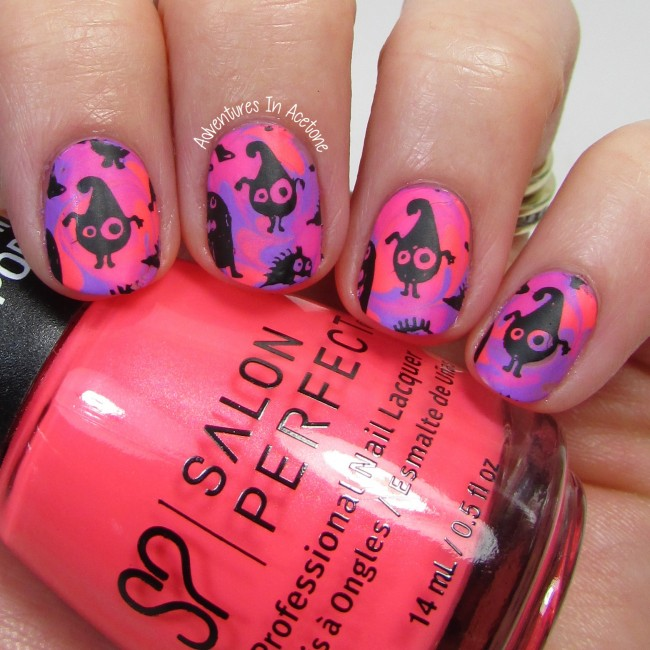 Neon Whimsical Monster Nail Art 2-001