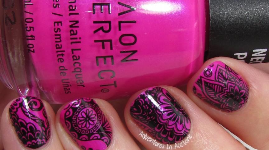 Pink Paisley Nail Art 2
