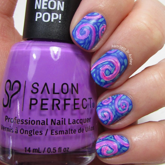 Whimsical Swirls Nail Art 2