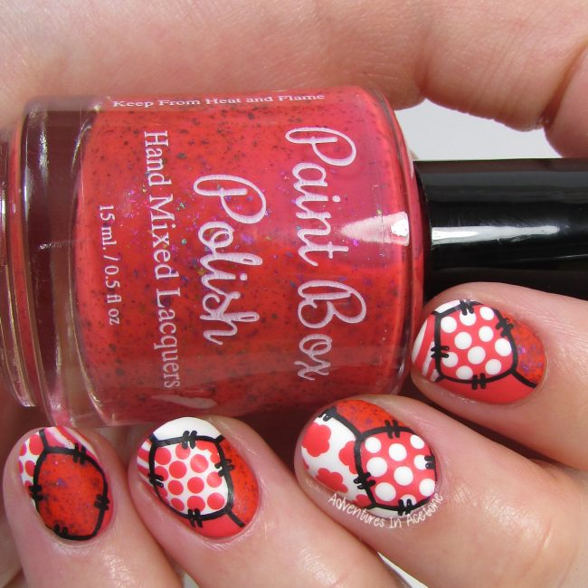 Coral and White Patchwork Nail Art 1