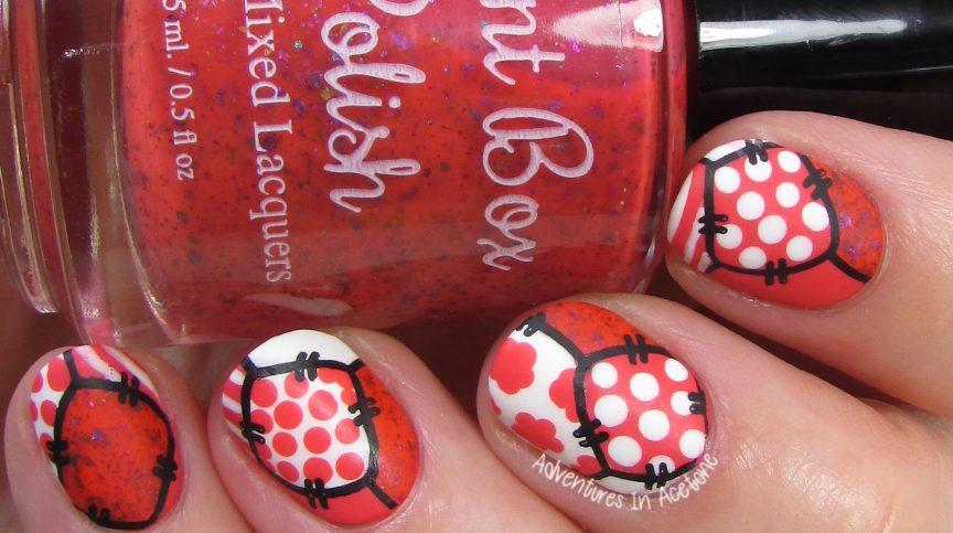 Coral and White Patchwork Nail Art 1 copy (1)