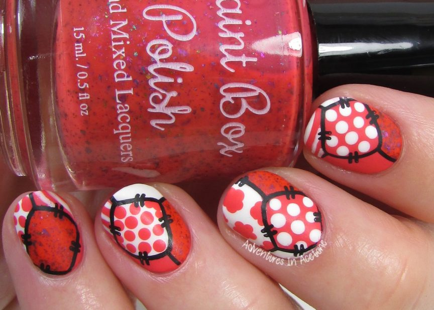 40 Great Nail Art Ideas Coral White Patchwork Nail Art