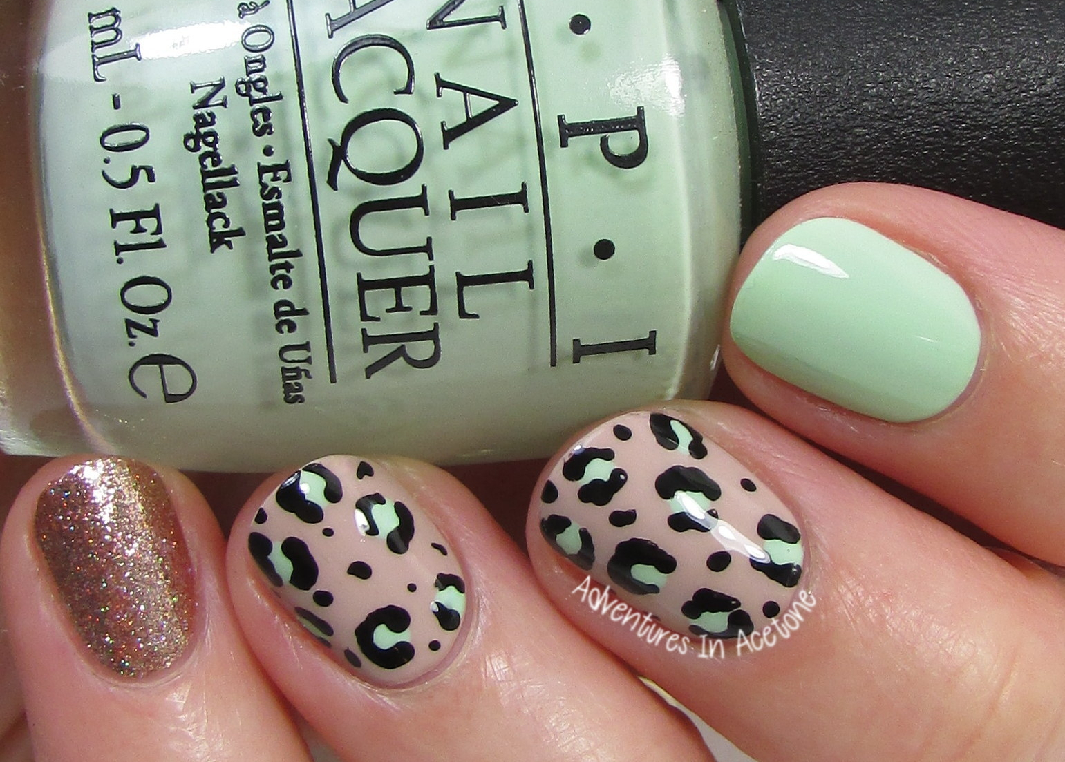 40 Great Nail Art Ideas, Mint Green: Leopard Print Nail Art ...