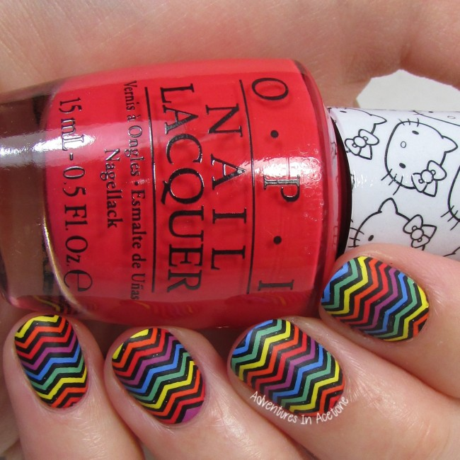Rainbow Chevron Nail Art 1-001
