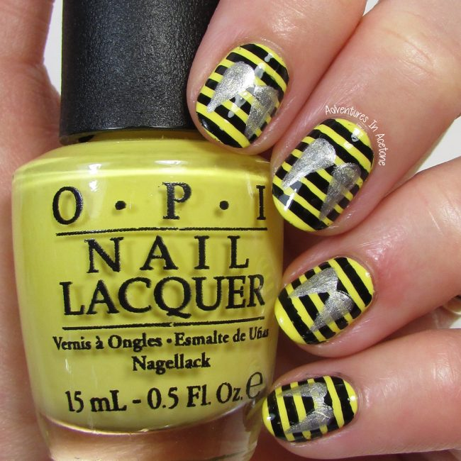 40 great nail art ideas insects bee nail art adventures in bee nail art 1 prinsesfo Choice Image