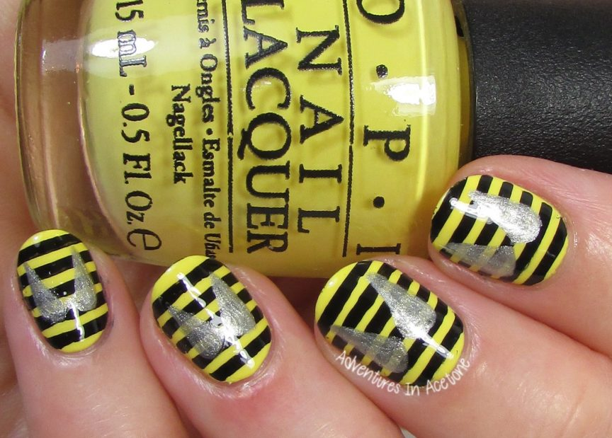 40 Great Nail Art Ideas, Insects: Bee Nail Art! - 40 Great Nail Art Ideas, Insects: Bee Nail Art! - Adventures In Acetone