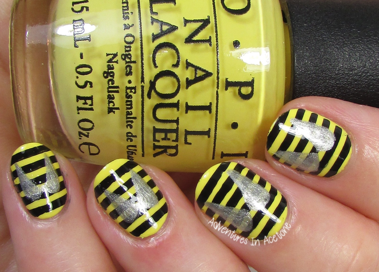 40 Great Nail Art Ideas, Insects: Bee Nail Art! - Adventures In Acetone
