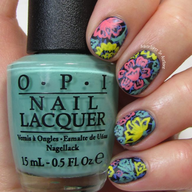 LuLaRoe Floral Leggings Inspired Nail Art 1