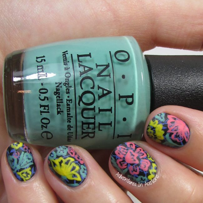 LuLaRoe Floral Leggings Inspired Nail Art 2