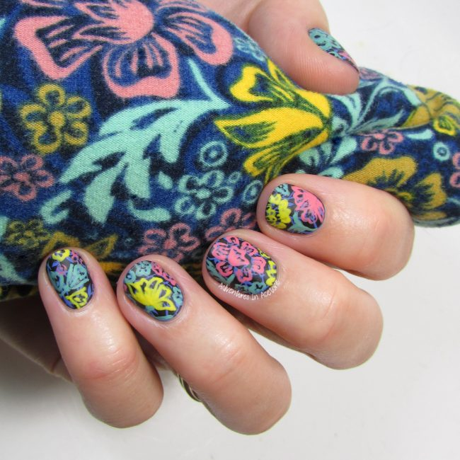 LuLaRoe Floral Leggings Inspired Nail Art 3-001