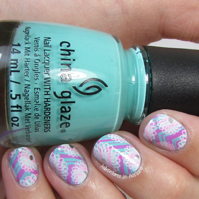 Pink and Aqua Floral and Chevrons Nail Art 1-001