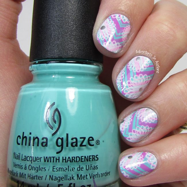 Pink and Aqua Floral and Chevrons Nail Art 2