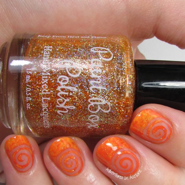 Orange Saran Wrap Negative Space Swirl Nail Art 1-001